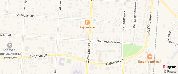 Октябрьская улица на карте поселка Плесецка с номерами домов