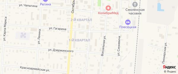 Кооперативная улица на карте поселка Плесецка с номерами домов