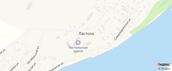 Комсомольская улица на карте деревни Ластола с номерами домов