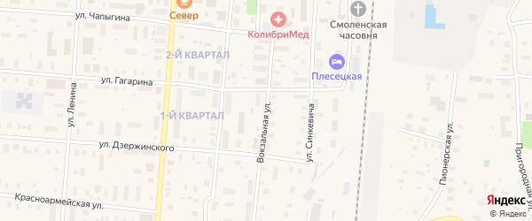 Вокзальная улица на карте поселка Плесецка с номерами домов