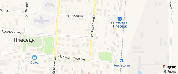 Дорожный переулок на карте поселка Плесецка с номерами домов