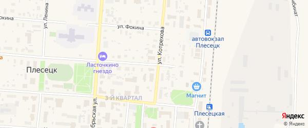 Комсомольская улица на карте поселка Плесецка с номерами домов