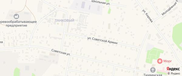 Улица Советской Армии на карте Обозерского поселка с номерами домов