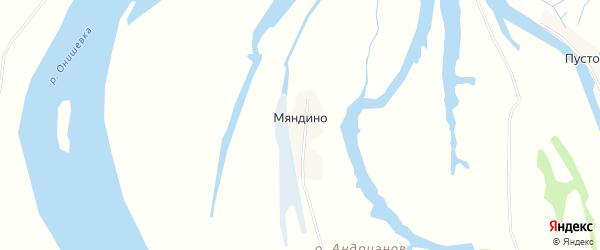 Карта деревни Мяндино в Архангельской области с улицами и номерами домов