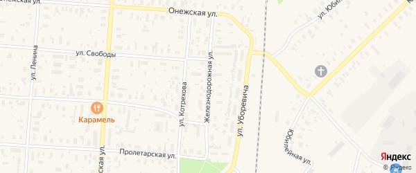 Железнодорожная улица на карте поселка Плесецка с номерами домов