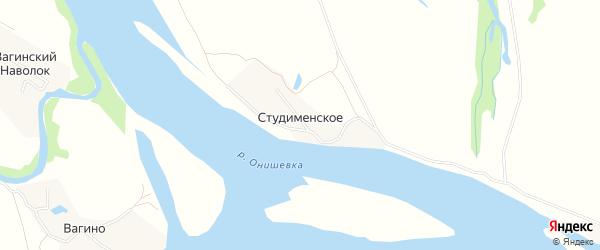 Карта деревни Студименское в Архангельской области с улицами и номерами домов