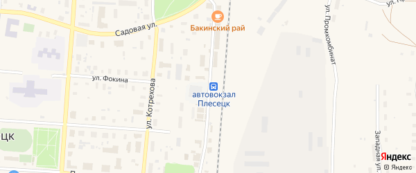 Улица Уборевича на карте поселка Плесецка с номерами домов