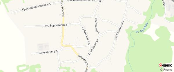Кубанская улица на карте Кужорской станицы с номерами домов
