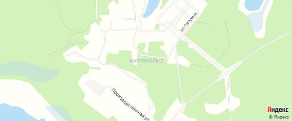 Карта микрорайона Каргополя-2 города Няндомы в Архангельской области с улицами и номерами домов