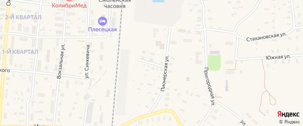 Шпалозаводская улица на карте поселка Плесецка с номерами домов