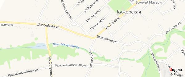 Шоссейная улица на карте Кужорской станицы с номерами домов
