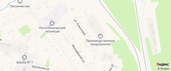Улица Алексеева на карте Обозерского поселка с номерами домов