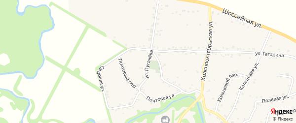 Улица Пугачева на карте аула Джерокая с номерами домов