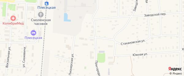 Улица Ударников на карте поселка Плесецка с номерами домов