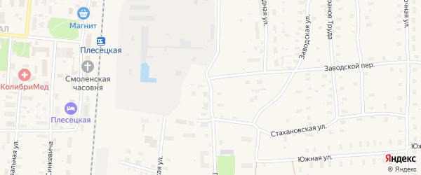 Пригородная улица на карте поселка Плесецка с номерами домов