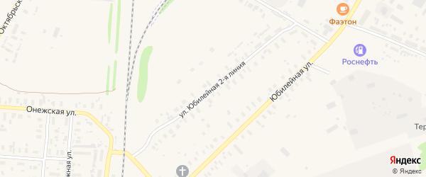 Юбилейная 2-я улица на карте поселка Плесецка с номерами домов