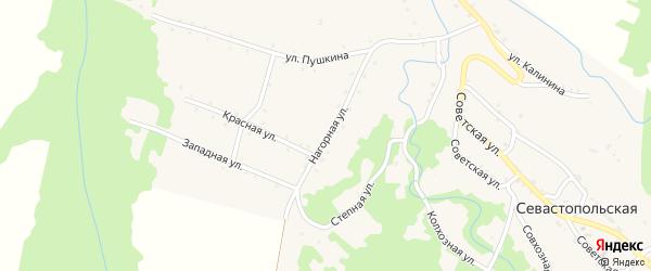 Нагорная улица на карте Севастопольской станицы с номерами домов