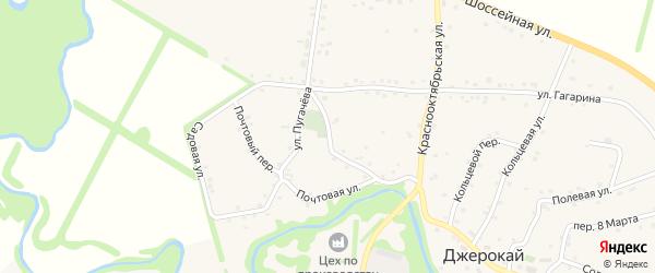 Набережный переулок на карте аула Джерокая с номерами домов