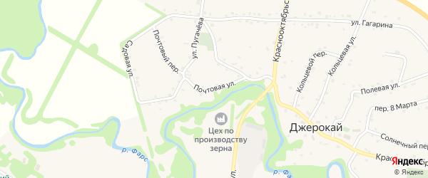 Почтовая улица на карте аула Джерокая с номерами домов