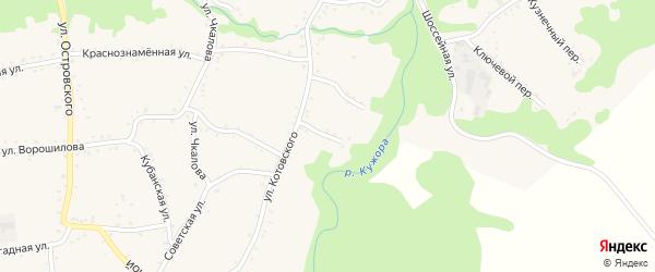 Переулок Разина на карте Кужорской станицы с номерами домов
