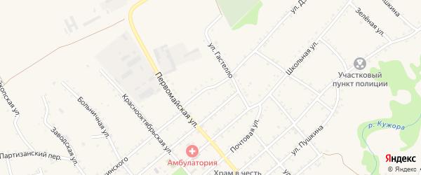 Улица Дзержинского на карте Кужорской станицы с номерами домов