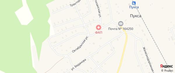 Октябрьская улица на карте поселка Пуксы с номерами домов