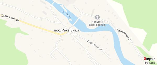 Железнодорожная улица на карте поселка Реки Емца с номерами домов