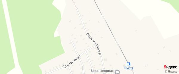 Водопроводная улица на карте поселка Пуксы с номерами домов