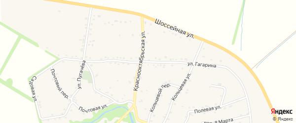 Улица Гагарина на карте аула Джерокая с номерами домов