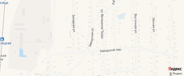 Заводская улица на карте поселка Плесецка с номерами домов