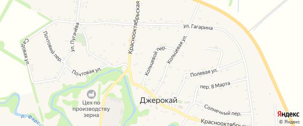 Кольцевой переулок на карте аула Джерокая с номерами домов