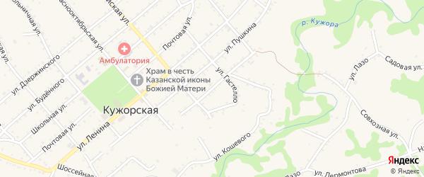 Улица Горького на карте Кужорской станицы с номерами домов