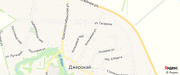 Кольцевая улица на карте аула Джерокая с номерами домов