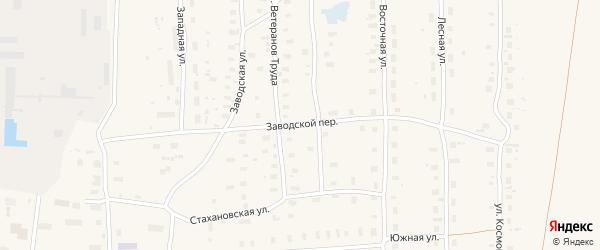 Заводской переулок на карте поселка Плесецка с номерами домов