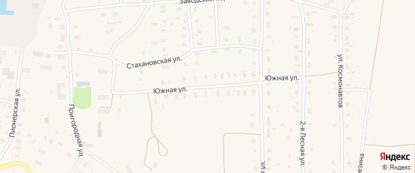 Южная улица на карте поселка Плесецка с номерами домов