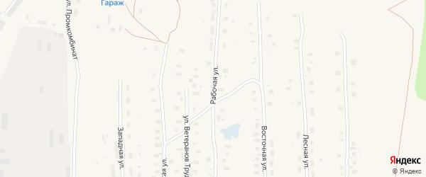 Рабочая улица на карте поселка Плесецка с номерами домов