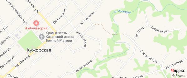 Крутой переулок на карте Кужорской станицы с номерами домов