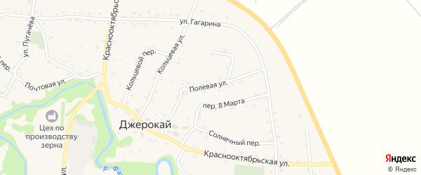 Полевая улица на карте аула Джерокая с номерами домов