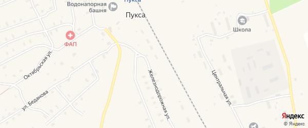 Центральная улица на карте поселка Пуксы с номерами домов