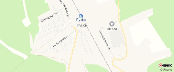 Карта поселка Пуксы в Архангельской области с улицами и номерами домов