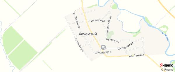 Карта Хачемзия аула в Адыгее с улицами и номерами домов