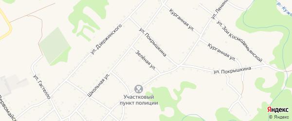 Зеленая улица на карте Кужорской станицы с номерами домов