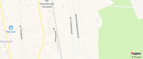 Улица Строителей на карте Обозерского поселка с номерами домов
