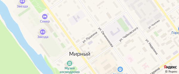 Улица Пушкина на карте Мирного с номерами домов
