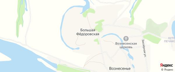 Карта Большей Федоровской деревни в Архангельской области с улицами и номерами домов