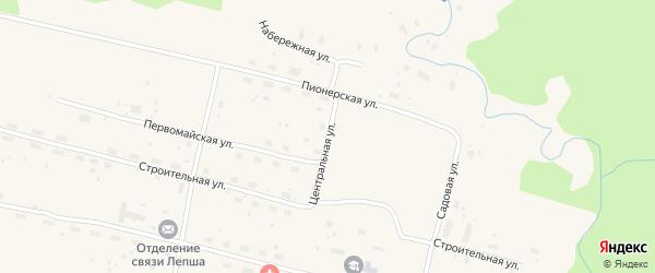 Центральная улица на карте поселка Новой с номерами домов