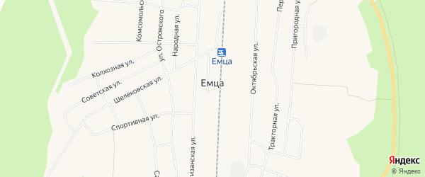 Карта поселка Емцы в Архангельской области с улицами и номерами домов