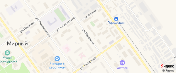 Улица Неделина на карте Мирного с номерами домов