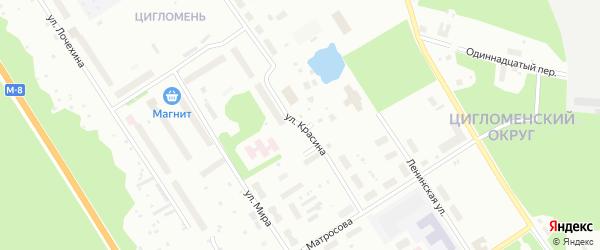 Улица Красина на карте Архангельска с номерами домов