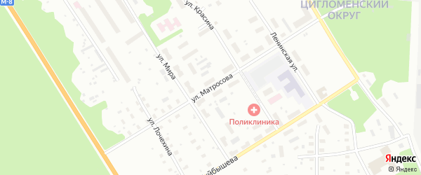 Улица Матросова на карте Архангельска с номерами домов